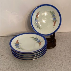 Vintage Bavarian small plates blue & white floral